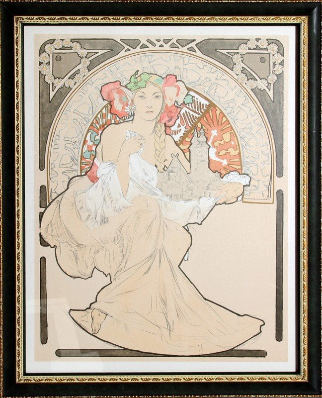 19: Alphonse Mucha, Lovely Protector, Lithograph Poster