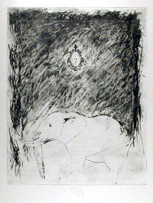 157: Donald Saff, Elephant, Etching