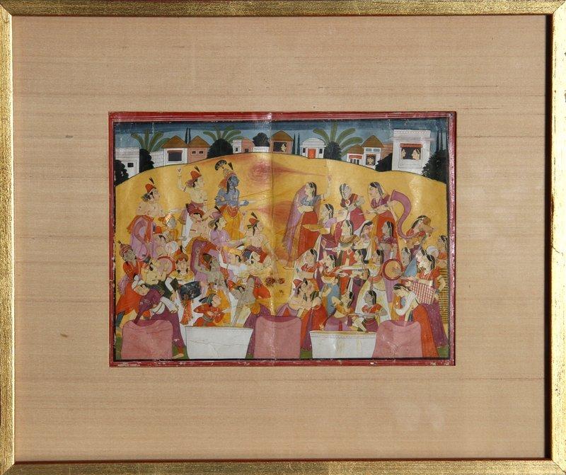 4: Indian Krishna Legend Festival of Holi, Gouache Pain