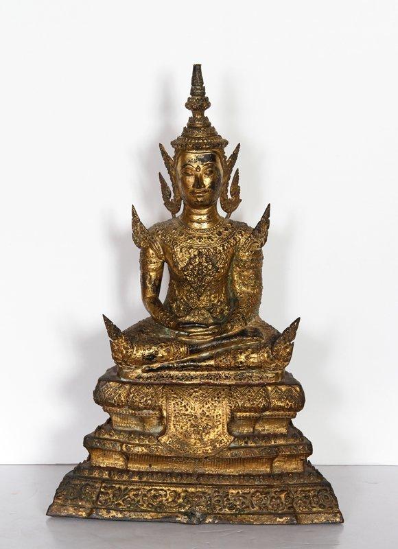 5: Thai Buddha, Painted Cast Metal Sculpture