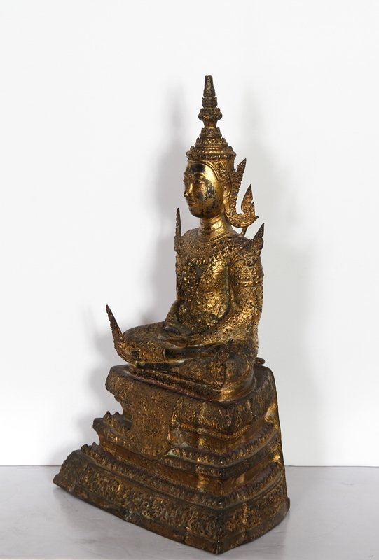 5: Thai Buddha, Painted Cast Metal Sculpture - 2