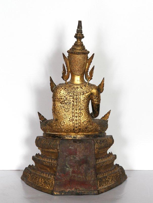 5: Thai Buddha, Painted Cast Metal Sculpture - 3