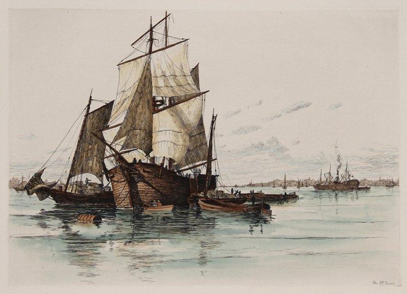 7: Charles F.W. Mielatz, Ships in New York Harbor, Colo