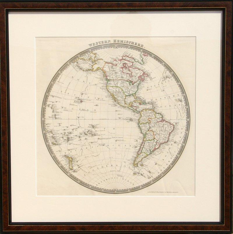 10: John Dower, Map of Western Hemisphere, Engraving