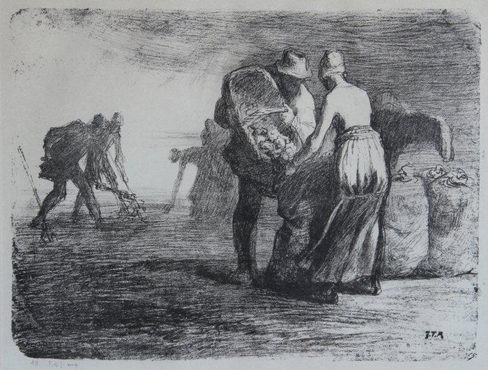 11: Jean Francois Millet, Farmers, Lithograph