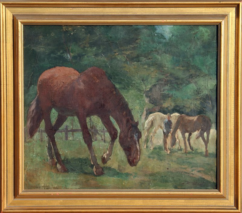 20: Ludwig Wilhelm Plock, Horses in Pasture, Oil Painti