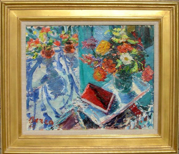 23: Dimitrie Berea, Flowers and a Red Book, Oil Paintin