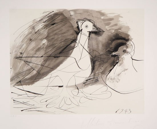 46: Pablo Picasso, Pigeons, Lithograph