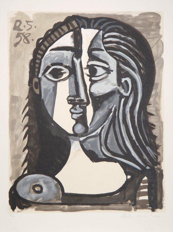 Pablo Picasso, Tete de Femme, Lithograph