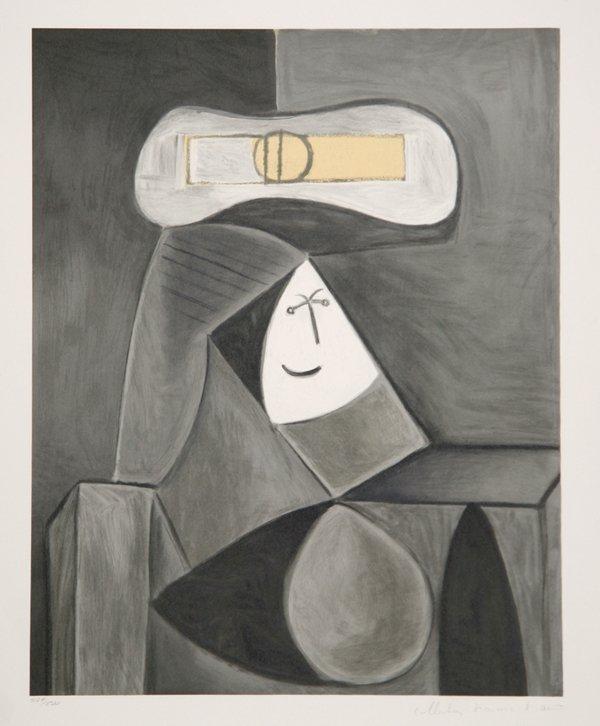 53: Pablo Picasso, Femme au Chapeau Gris, Lithograph