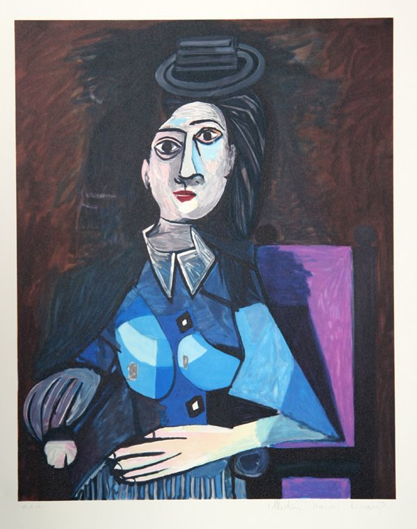 54: Pablo Picasso, Femme Au Petit chapeau Rond, Assise