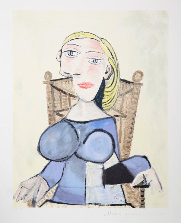 55: Pablo Picasso, Femme Blonde Au Fauteuil D'Osier, Li