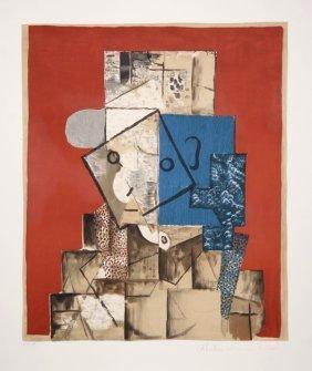 Pablo Picasso, Visage Sur Fond Rouge, Lithograph