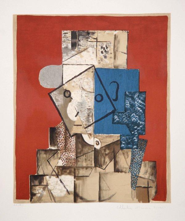 58: Pablo Picasso, Visage sur Fond Rouge, Lithograph