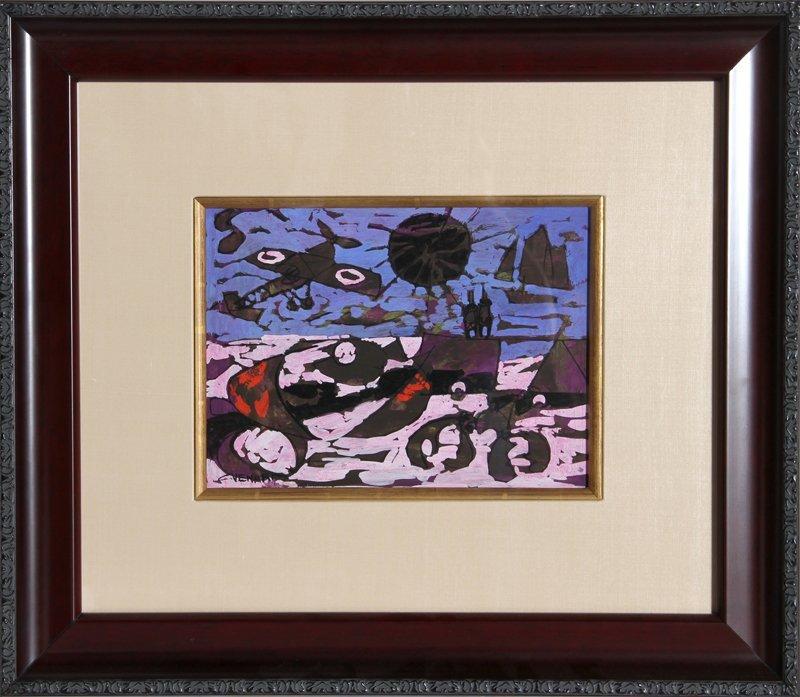 65: Claude Venard, Le Ciel rouge violace, Gouache Paint