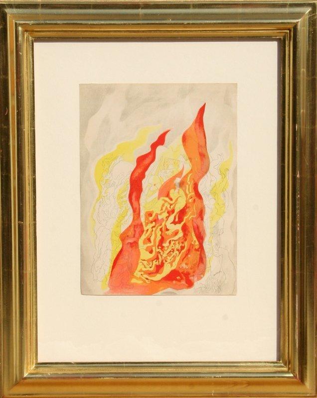 68: Abraham Rattner, Fire, Lithograph