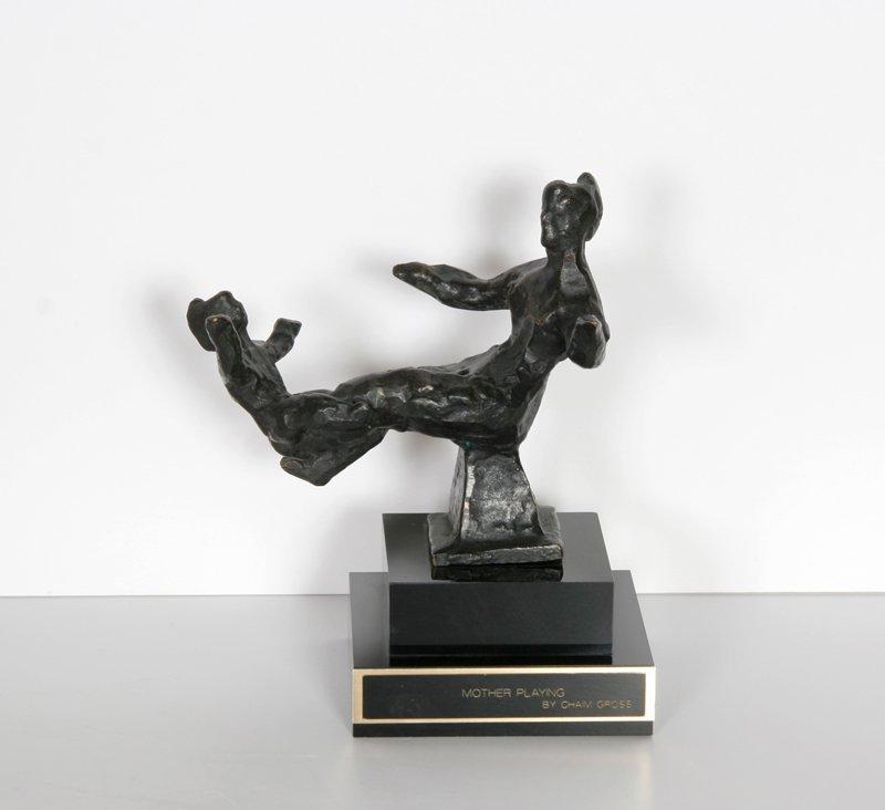 72: Chaim Gross, Mother Playing, Bronze Sculpture