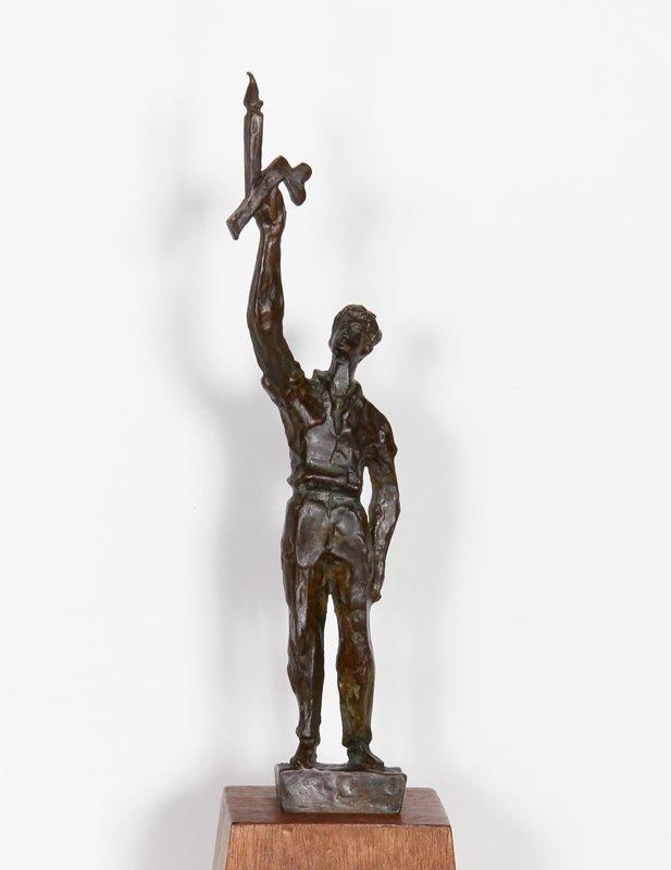 73: Chaim Gross, Man holding Candle, Bronze Sculpture