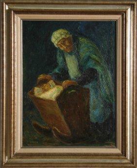 Chaim Goldberg, Woman With Child In Crib, Oil Pain
