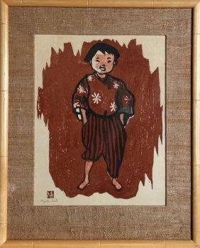 Kiyoshi Saito, Boy, Woodcut