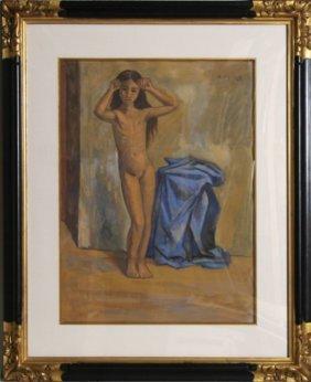 Raul Anguiano, La Nina Desnuda, Gouache Painting