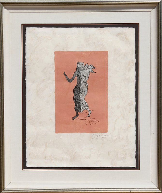 120: Georges Braque, Personnage sur fond rose, Lithogra