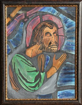 Abraham Rattner, Untitled (Saint), Oil Painting
