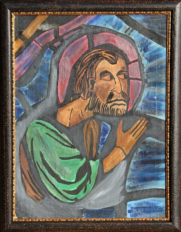 128: Abraham Rattner, untitled (Saint), Oil Painting