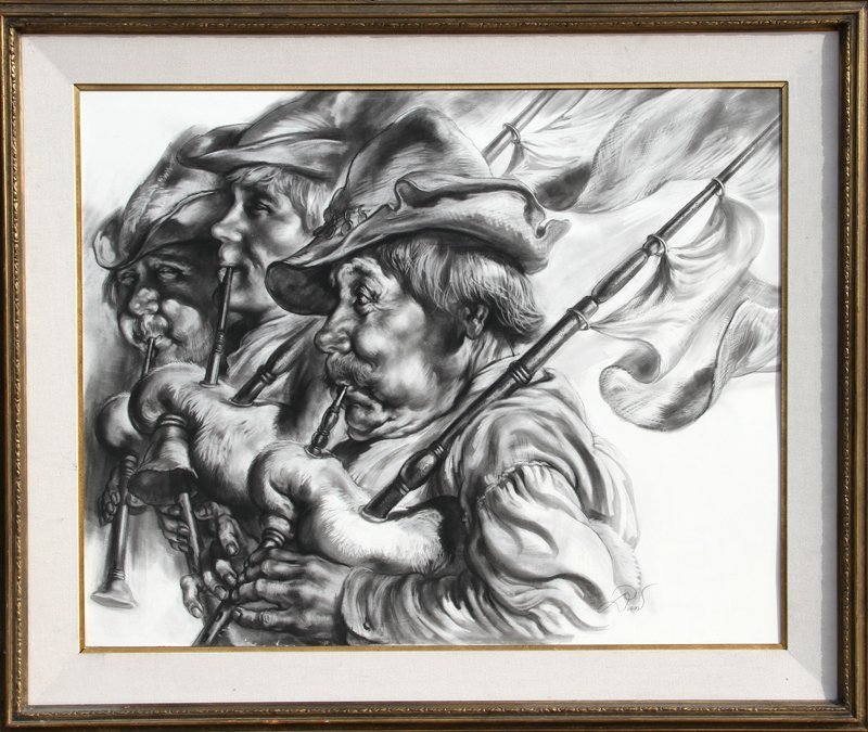 129: Dan, Bagpipers, Charcoal Drawing