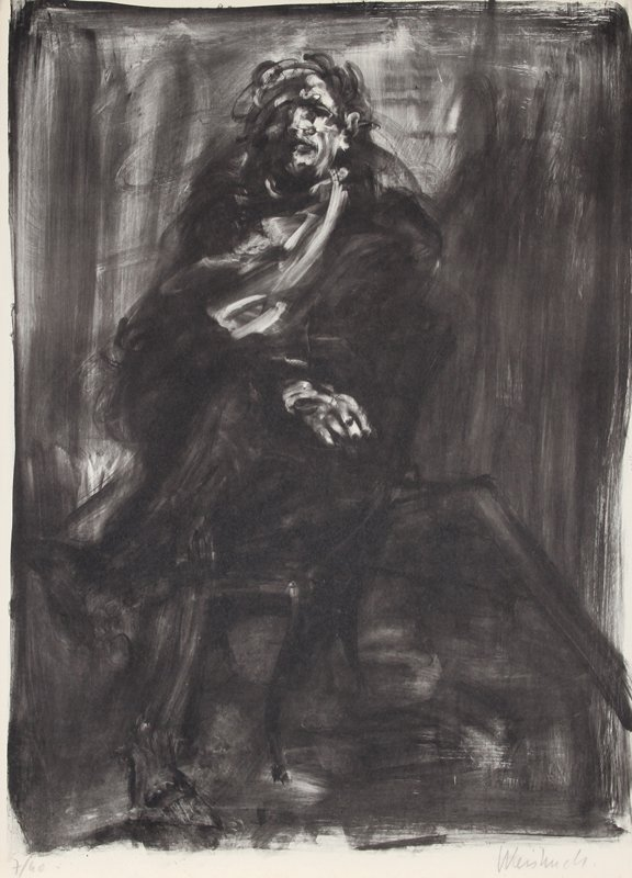 131: Claude Weisbuch, Seated Man, Lithograph