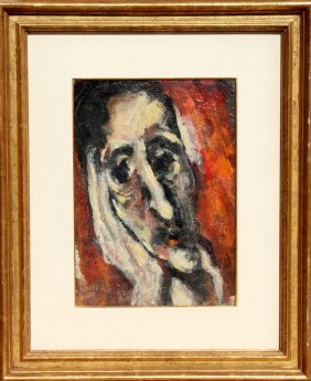 Emmanuel Mane-Katz, Portrait Of A Man, Oil Paintin
