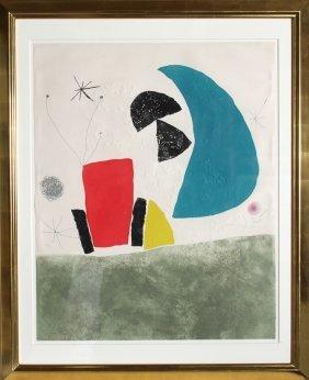 Joan Miro, Espriu Series, Plate 8 (Blue Half Moon)