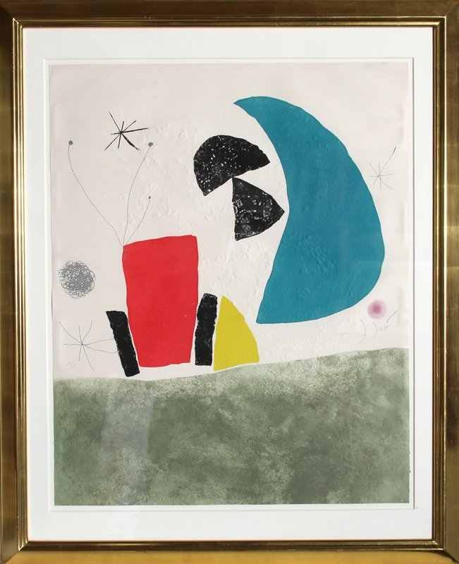 155: Joan Miro, Espriu Series, Plate 8 (Blue Half Moon)