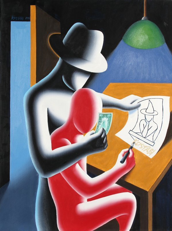 384: Mark Kostabi, To Tell the Truth, Oil Painting