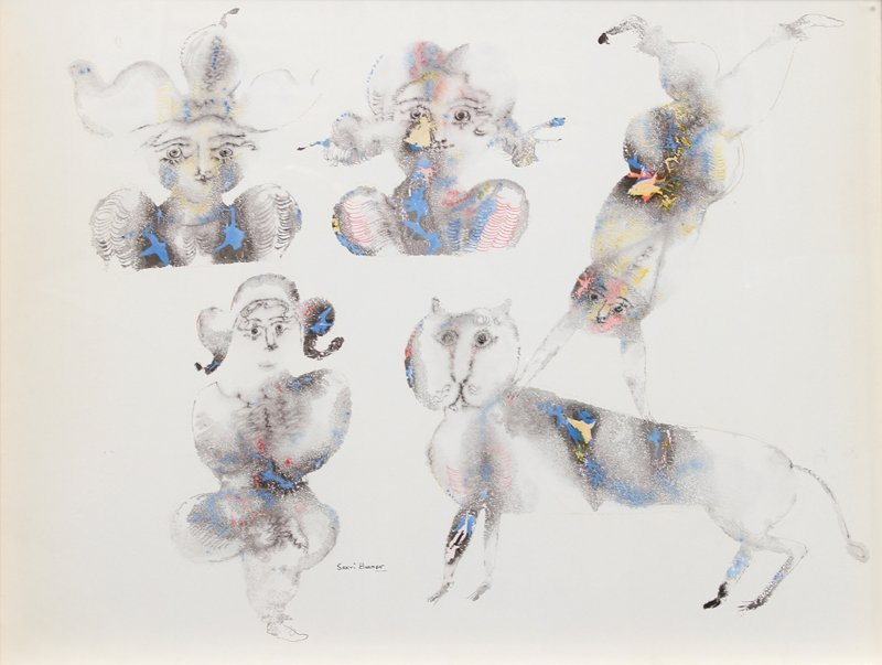 393: Sakti Burman, Circus Scene with Cat, Watercolor