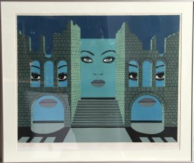 Felix Labisse, Untitled (Three Faces), Lithograph