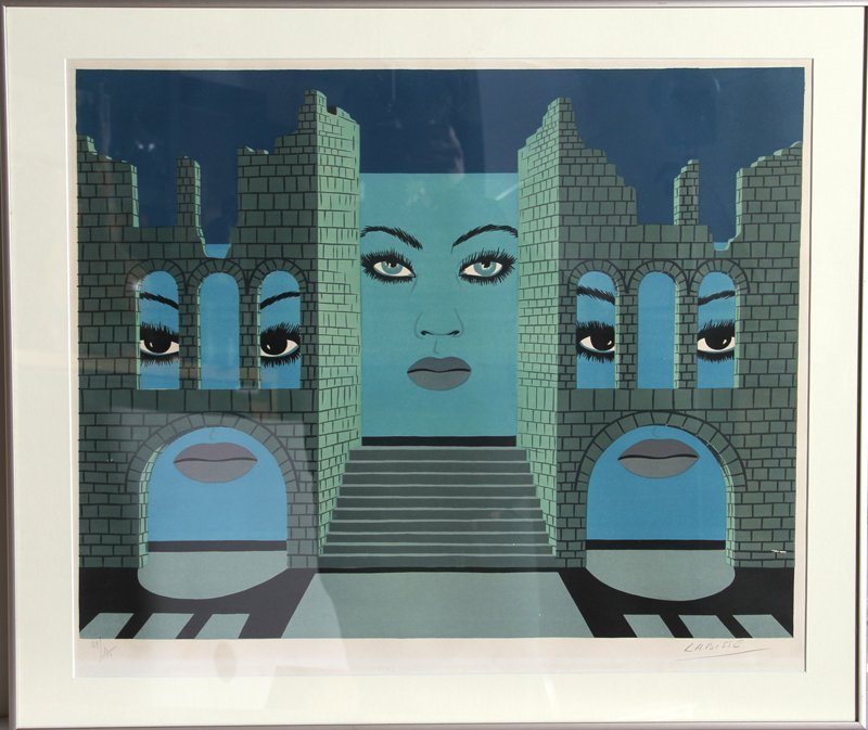 408: Felix Labisse, untitled (Three Faces), Lithograph