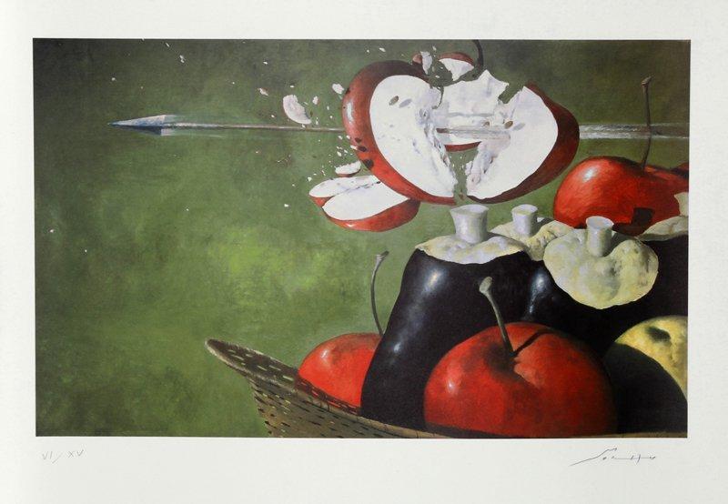 419: Julio Larraz, William Tell's Apple, Lithograph