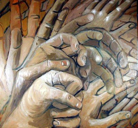 422: Seth Dembar, Hands, Painting