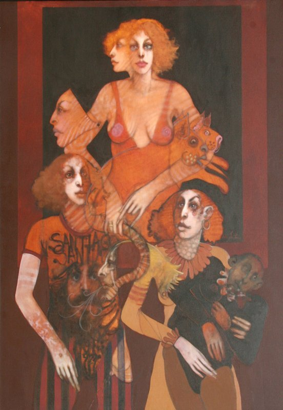 423: Ramon Santiago, Mother Image, Oil Painting