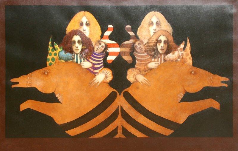 424: Ramon Santiago, Mirror Image, Oil Painting
