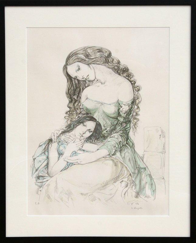 427: Tsuguharo Foujita, Woman and Child, Lithograph