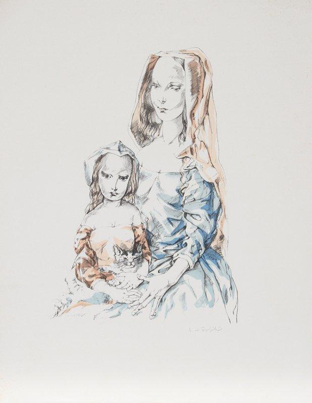 428: Tsuguharo Foujita, Mother and Child, Lithograph