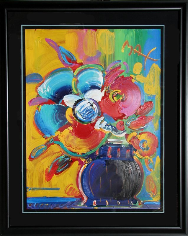 454: Peter Max, Roseville Bouquet #28, Acrylic Painting