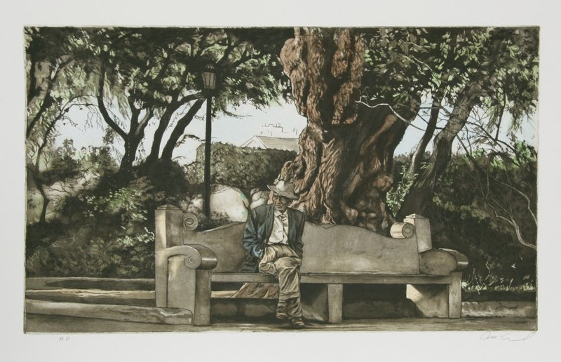 477: Harry McCormick, Man on Bench (Color), Aquatint Et