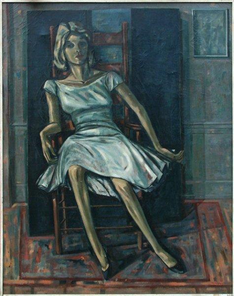 715: Edith Varian Cockroft, Girl in a White Dress, Oil