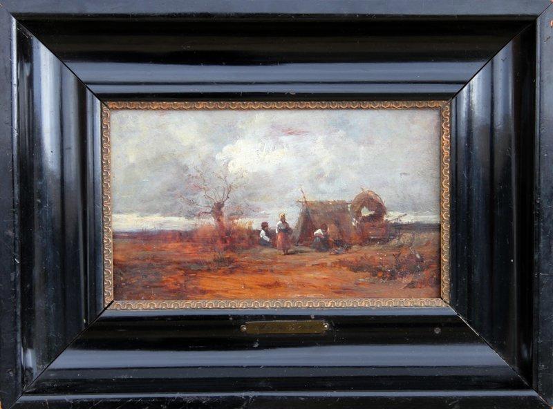 2: Géza Mészöly, Gypsy Camp, Oil Painting