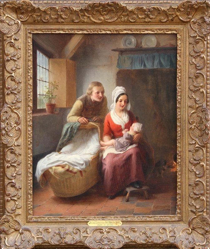 3: Francois-Antoine De Bruycker, The First Born, Oil Pa