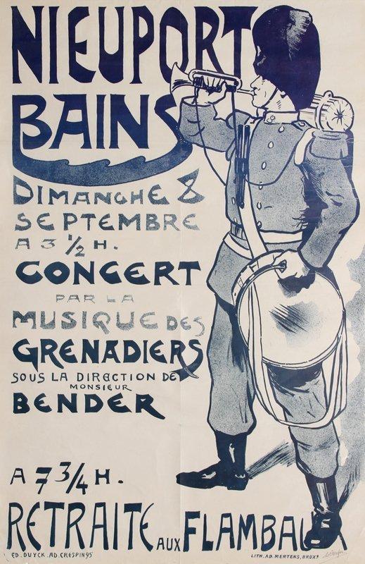 15: Adolphe Crespin, Nieuport Bain, Lithograph Poster