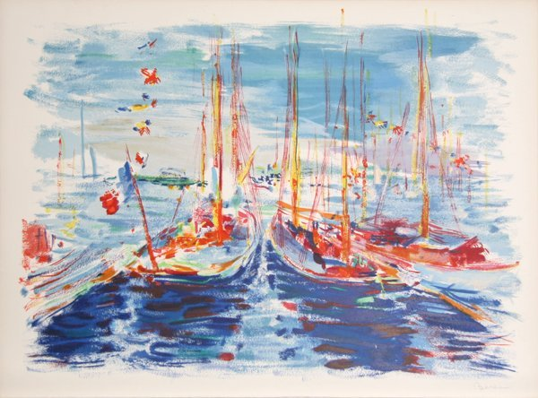 21: Dimitrie Berea, French Boats, Lithograph